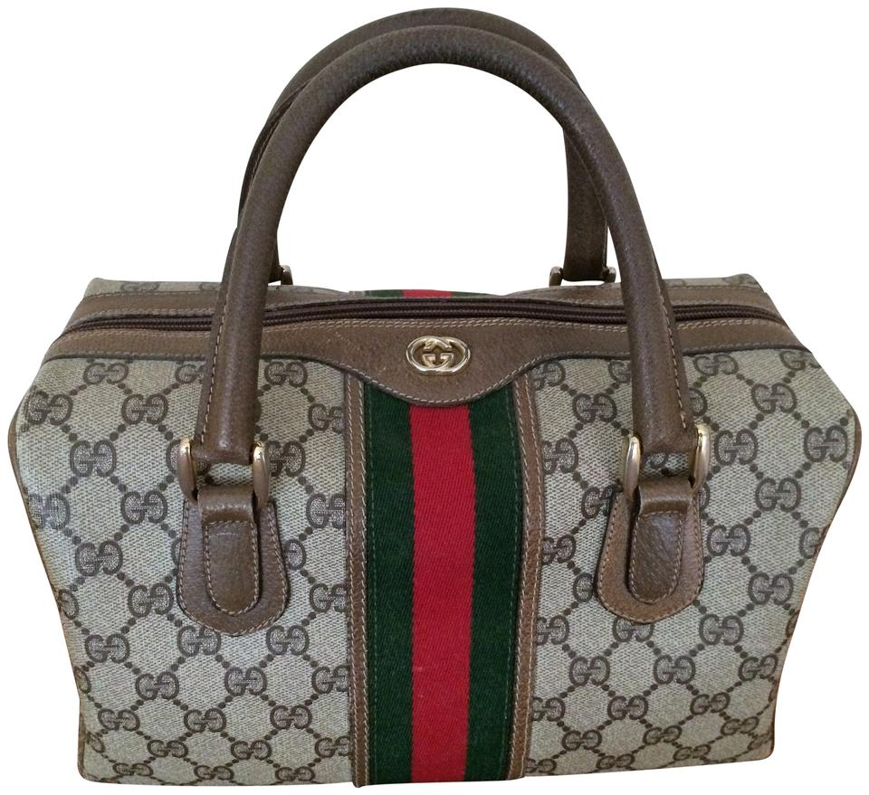 566b9bfab Gucci Boston Vintage Doctor Signature Brown Gg Web Cloth and Leather ...