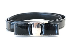 Salvatore Ferragamo Salvatore Ferragamo Patent Leather Bow Belt