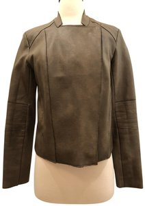 Olivaceous Faux Short Cropped Brown Leather Jacket