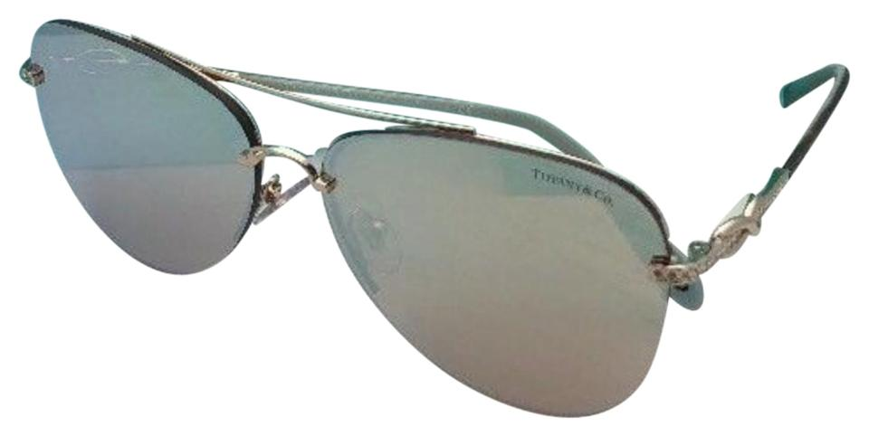 85ede9224ae Tiffany   Co. Tf 3054-b 6021 64 Gold Blue Tortoise Aviator W  Mirror ...