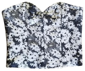 Stella McCartney Bustier Floral Corset Floral Designer Bustier Top Black and White
