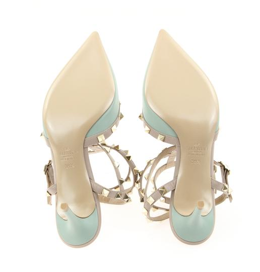 Valentino Studded Leather Pointed Toe Made In Italy Kitten Heel Green Pumps
