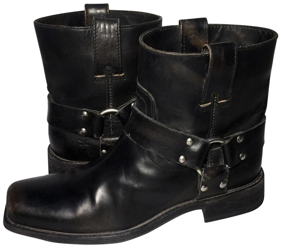 Frye Black 77439 Smith Boots/Booties Harness Short Leather Motorcycle Boots/Booties Smith 1edeb1
