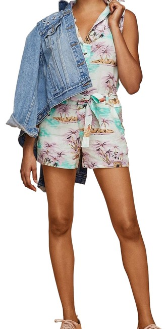 Item - Green Purple and Ivory Molly Printed Romper/Jumpsuit