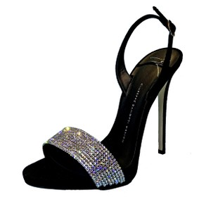 Giuseppe Zanotti Made In Italy Luxury Designer Holiday Parties Crystal Embellished Sparkle Diamond Black Sandals