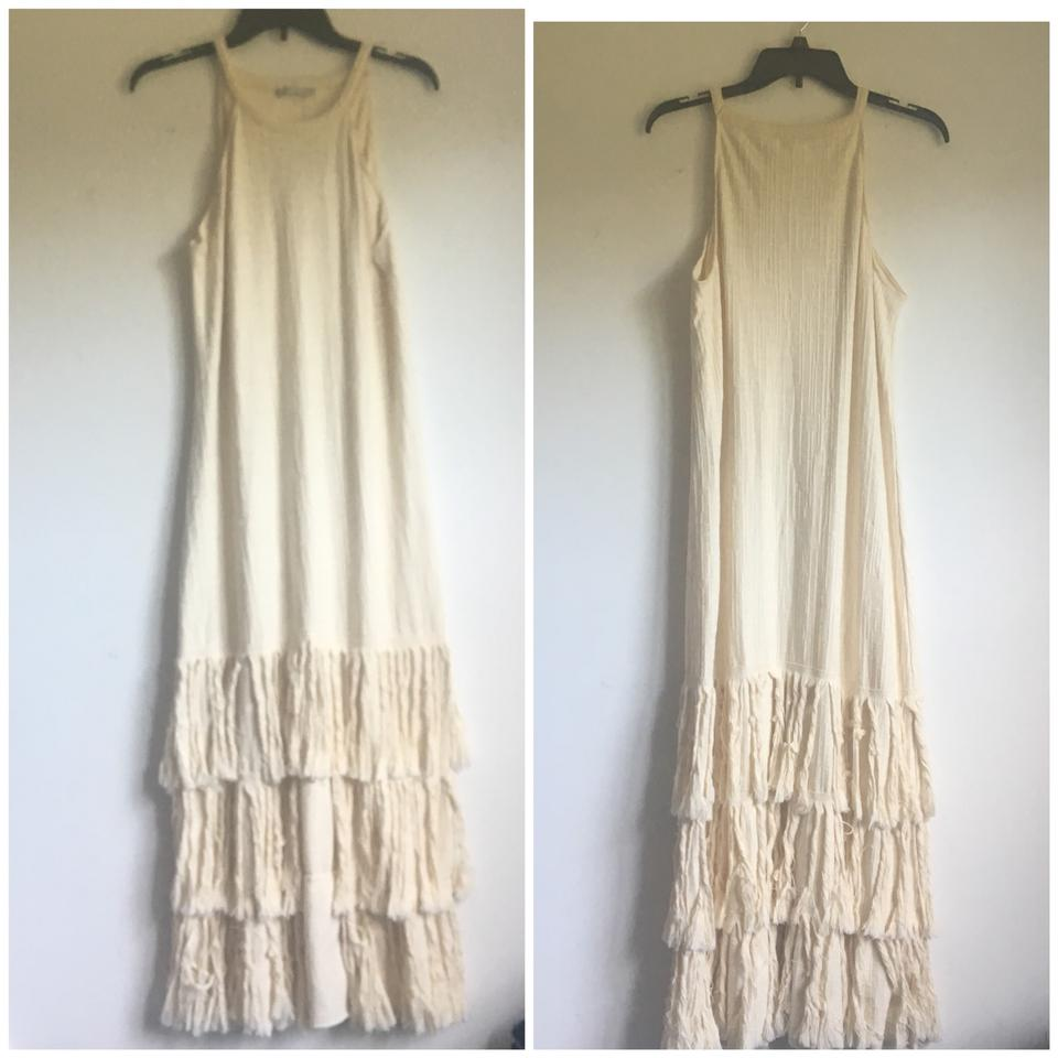 8dee0323 Zara Beige Midi with Fringe Blogger Fav Mid-length Casual Maxi Dress ...