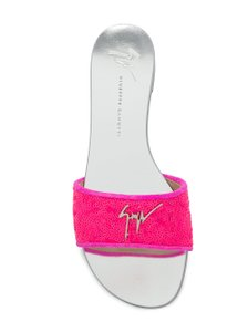 Giuseppe Zanotti Sequins Slip In Italy Logo Plaque Silver Tone Insole Pink Sandals