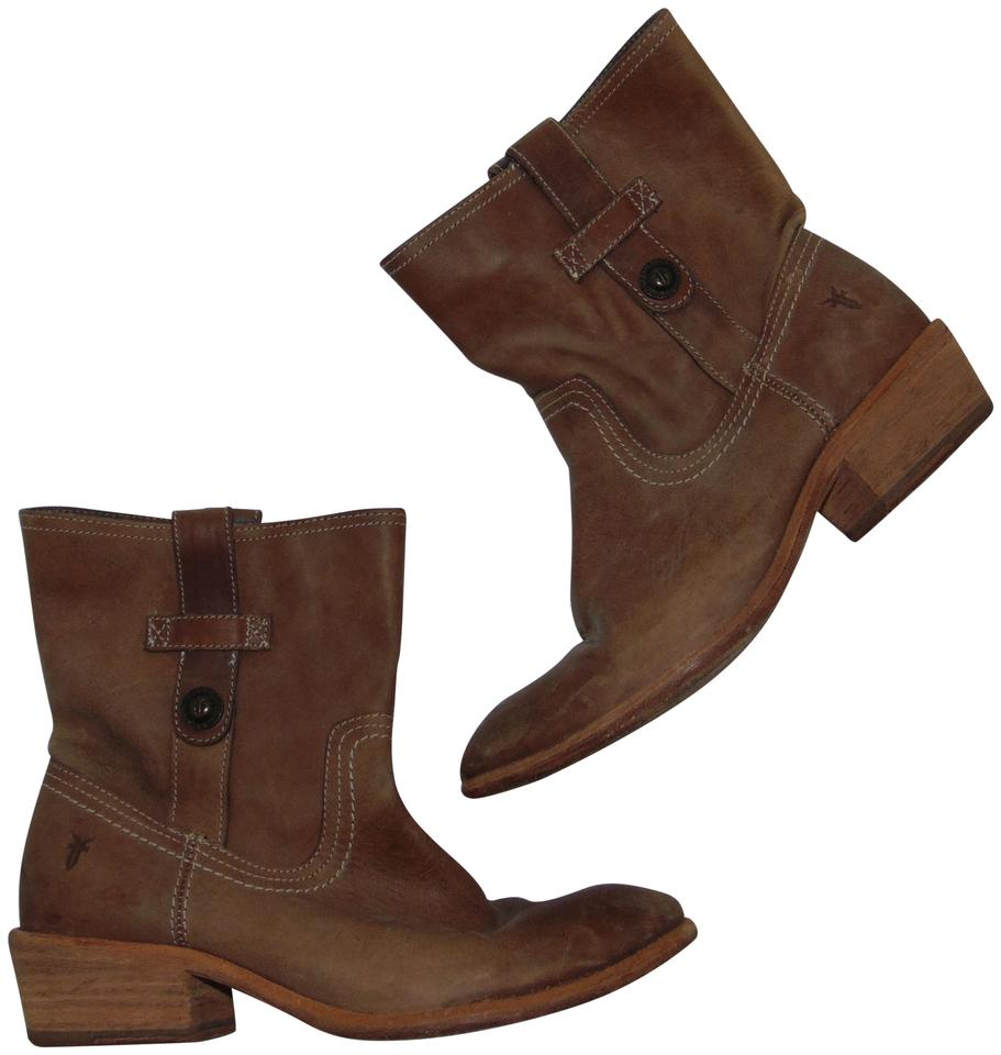 Frye Up Short Taupe Leather Pull Up Frye Button Boots/Booties 653d49