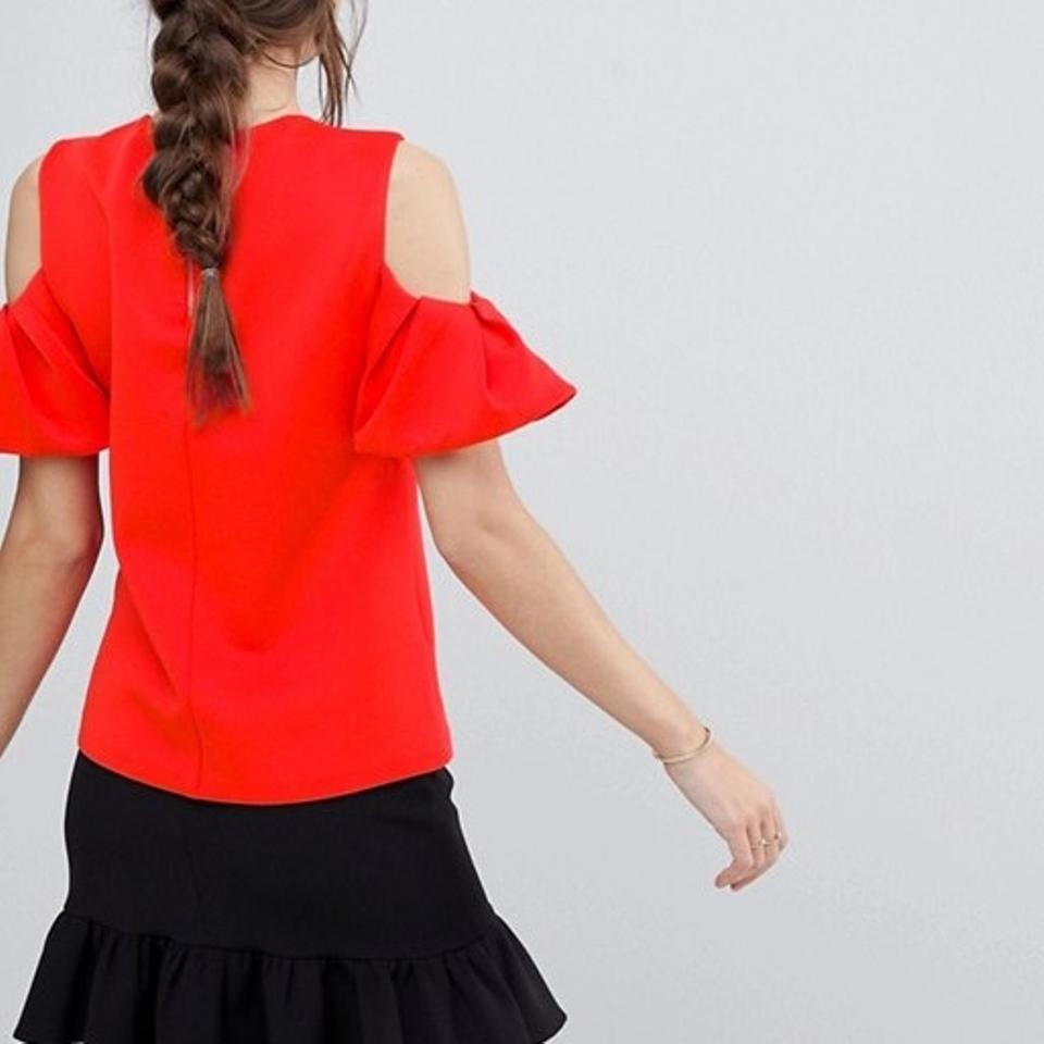 d7bf186abd828 Ted Baker Bright Red Betey Cold Shoulder Ruffle Blouse Size 8 (M) - Tradesy