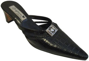 Brighton Stack Wood Heels Silver Hardware Croc Cut-out Signature Black Mules