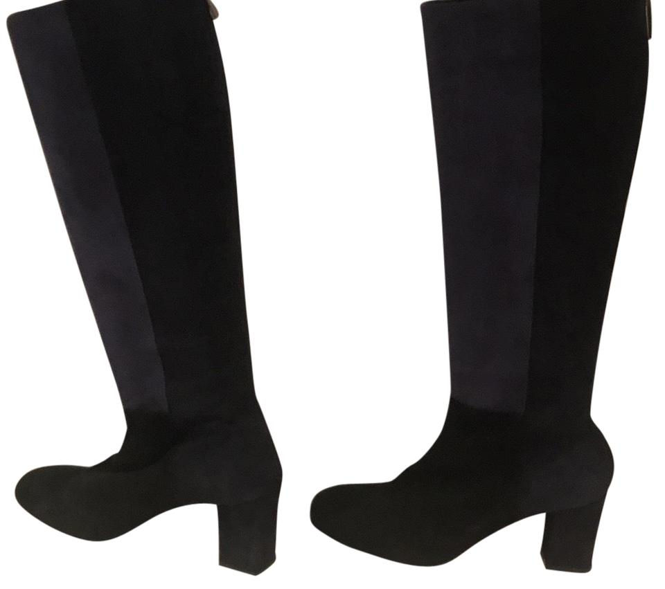 179fbbbfbe9 Aquatalia Black and Blue Color Suede with Zipper Boots Booties Size ...
