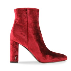 Saint Laurent Antique Hardware Made In Italy Velvet Rounded Toe Zipper Closure Red Boots