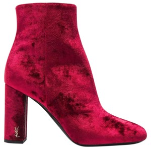 Saint Laurent Antique Hardware Velvet Rounded Toe Zipper Closere Made In Italy Red Boots