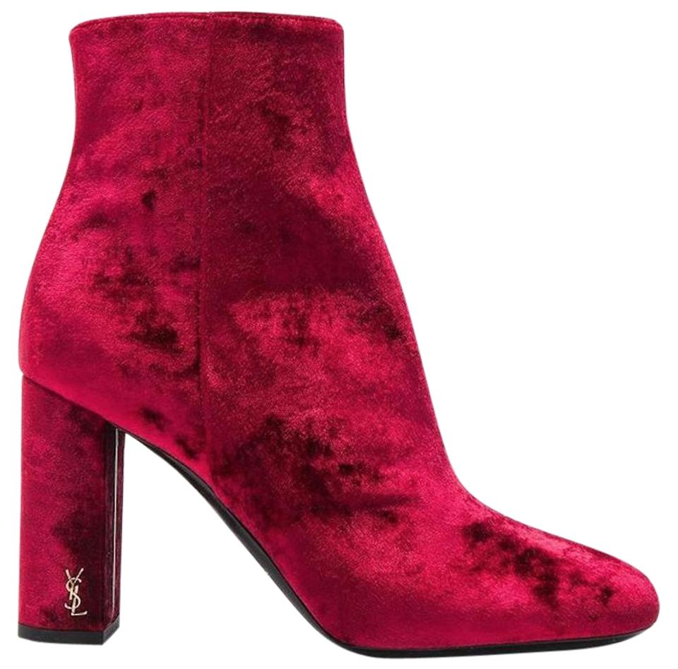 623c2a7fe3a Saint Laurent Antique Hardware Made In Italy Velvet Rounded Toe Zipper  Closure Red Boots Image 0 ...