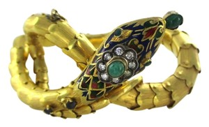 14KT YELLOW GOLD SNAKE ANTIQUE VINTAGE DIAMOND EMERALD SAPPHIRES ENAMEL BANGLE