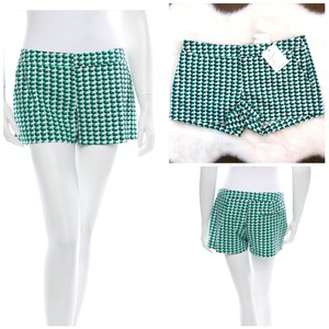 Joie Print Summer Casual Checkered Dress Shorts Green Navy White