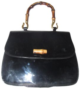 Susan Gail 1960's Mod Kelly Style Mint Vintage Made By Two-way Style Satchel in black patent leather with bamboo handle