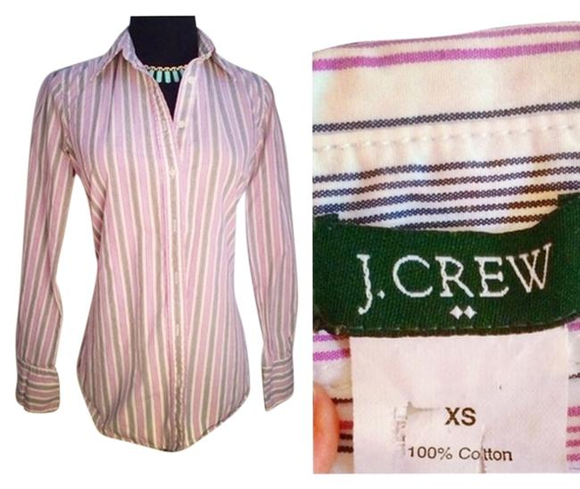 J.Crew Pin Office Attire Professional Collared Blouses Womens Button Down Shirt Purple/Lavender and Charcoal Pinstripe Button Down