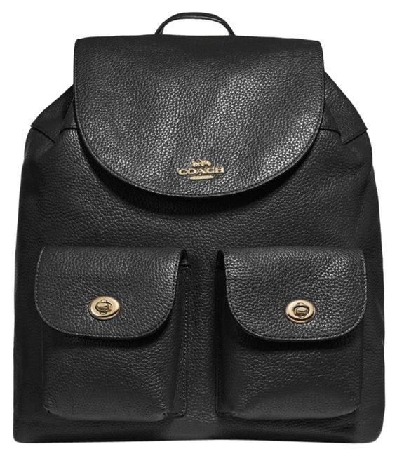 Coach Two Pocket Travel School Black Leather Backpack Coach Two Pocket Travel School Black Leather Backpack Image 1