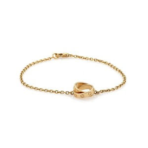 Cartier Baby Love 18k Yellow Gold 2 Mini Ring Charms Chain Bracelet w/Cert