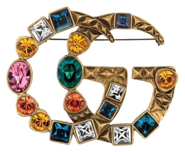 Item - Metal with Multi Color Crystal Double G Brooch Style515149 I7486 8512