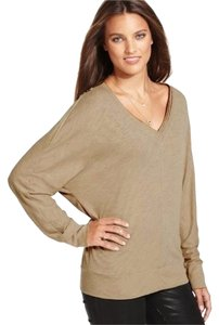 Rachel Roy Distressed Oversize Oversized Sexy Loose Relaxed Flowy Top Tan