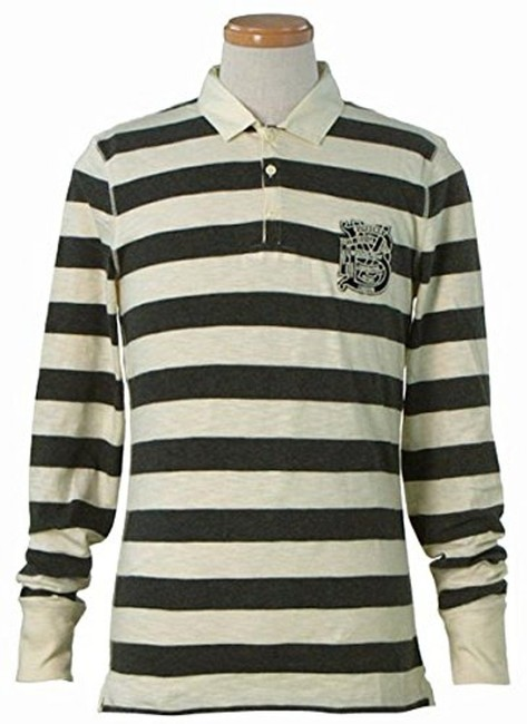 Item - Charcoal / Natural White Striped Cotton Long Sleeves Polo Shirt