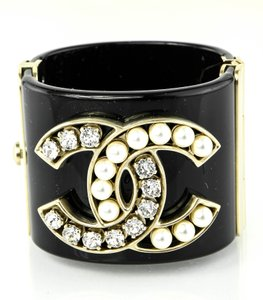 Chanel Chanel CC Crystal and Faux (simulated) Pearls Clamper Cuff