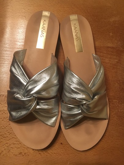 9580ee9252565a ... KAANAS Slide Metallic On Trend Leather Silver Sandals
