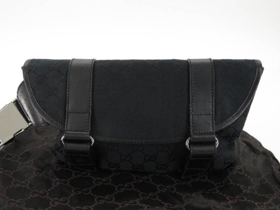 65aa0d4df Gucci Bum Monogram Gg Belt Pouch Waist Pack 867065 Black Coated Canvas Cross  Body Bag - Tradesy