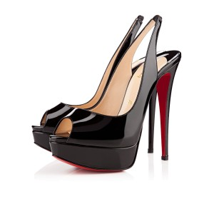 Christian Louboutin Lady Peep Platform Stiletto Slingback black Pumps