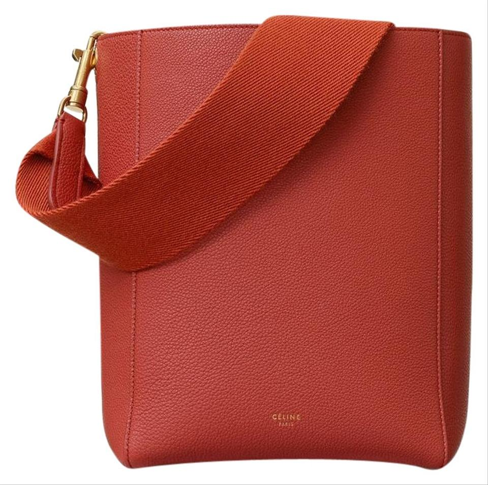 c490b8071752 Céline Sangle Small Bucket In Soft Grained Calfskin Fox Red Leather ...