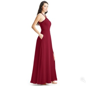 Azazie Burgundy Chiffon Satin Lace Penelope Formal Bridesmaid/Mob Dress Size 4 (S)