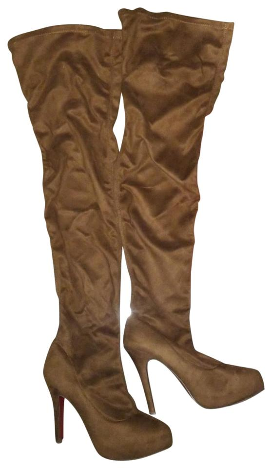 Christian Louboutin Silky Choco Brown Thigh High Chocolate Colored Suede 3 with 3 Suede and A 1/2 Inch Heels Boots/Booties 7715ca