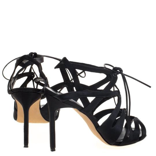 Manolo Blahnik Satin Lace Black Sandals