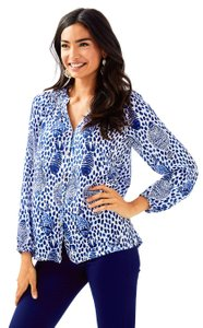 Lilly Pulitzer Shirt Women Elsa Casa Del Sol Top High Tide Navy