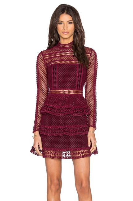 Preload https://img-static.tradesy.com/item/23578939/self-portrait-dark-maroon-new-with-tags-high-neck-lace-paneled-cocktail-dress-size-4-s-0-0-650-650.jpg