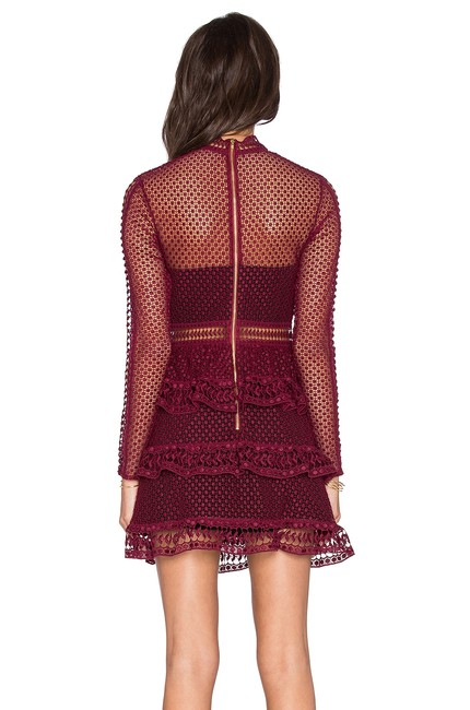 self-portrait Lace Paneled Panel Tiered Burgundy Dress