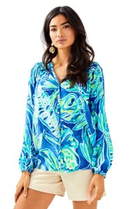 Lilly Pulitzer Shirt Women Elsa Casa Del Sol Top Beckon Blue