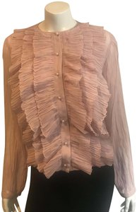 Givenchy Luxury Crepe Ruffle Top Pale Pink