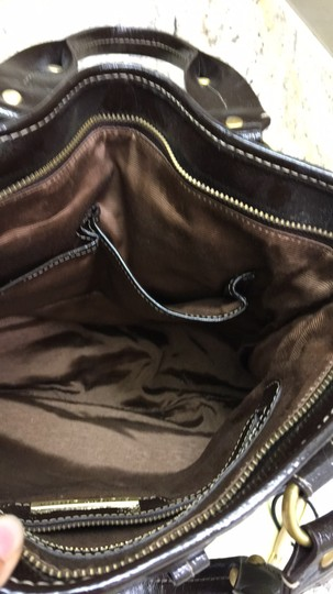 Elliott Lucca Patent Leather Satchel in Brown and gold