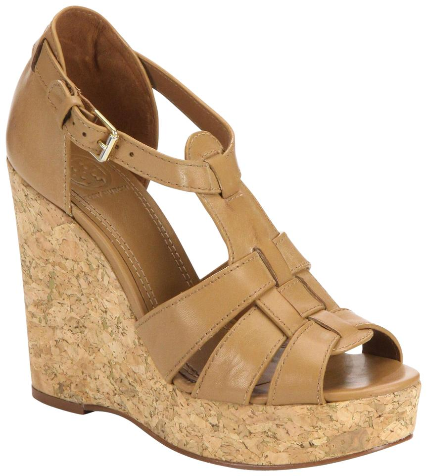 51a962672de Tory Burch Brown Wendelle Leather Cork Sandals Tan New Women Wedges ...