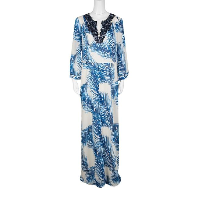 White Maxi Dress by Tory Burch Print Sequin Embellished Silk Maxi