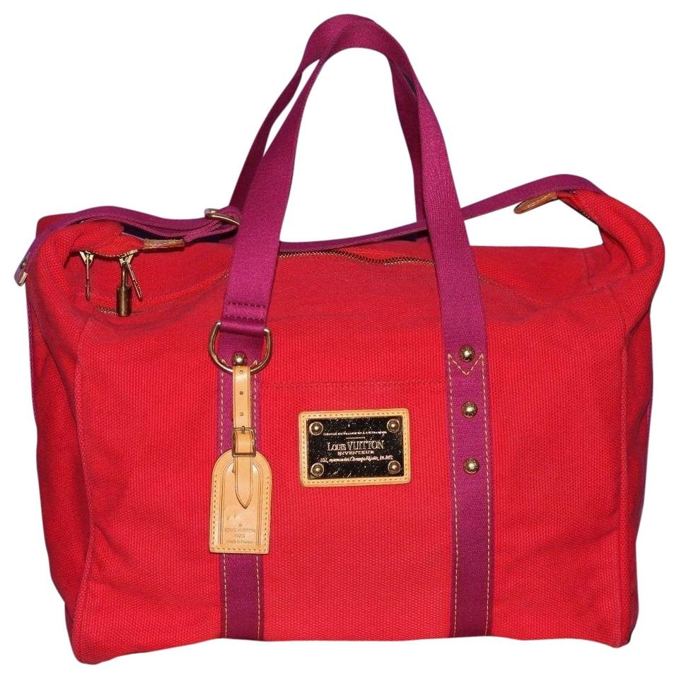 650f5627814 Louis Vuitton Cabas Duffle Antigua Tote Carry On Luggage Red Canvas ...
