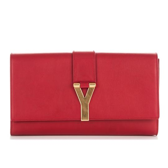 Saint Laurent Leather Logo Red Clutch