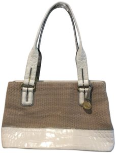 Brahmin Summer Shades Work Play Perfect Satchel in Beige weave with cream & blue/gray stamped leather
