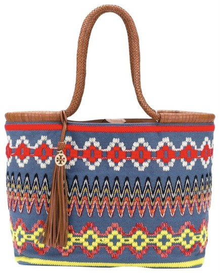 Preload https://img-static.tradesy.com/item/23579588/tory-burch-taylor-embroidered-tassel-chambray-canvas-leather-tote-0-0-540-540.jpg