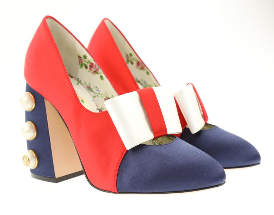 69e2ddd57b67 Gucci Multicolor New Box Pearl Spike Satin Holiday Heels Pumps Size ...