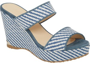 Jimmy Choo Parker Wedge Sandals 5.5 Dusk blue white Mules