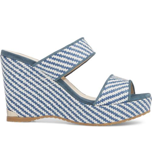 Jimmy Choo Parker Wedge Sandals 9 Dusk blue white Mules